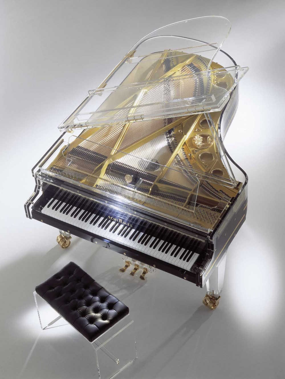 Schimmel K213 Glas Acrylic Black Grand Piano Top