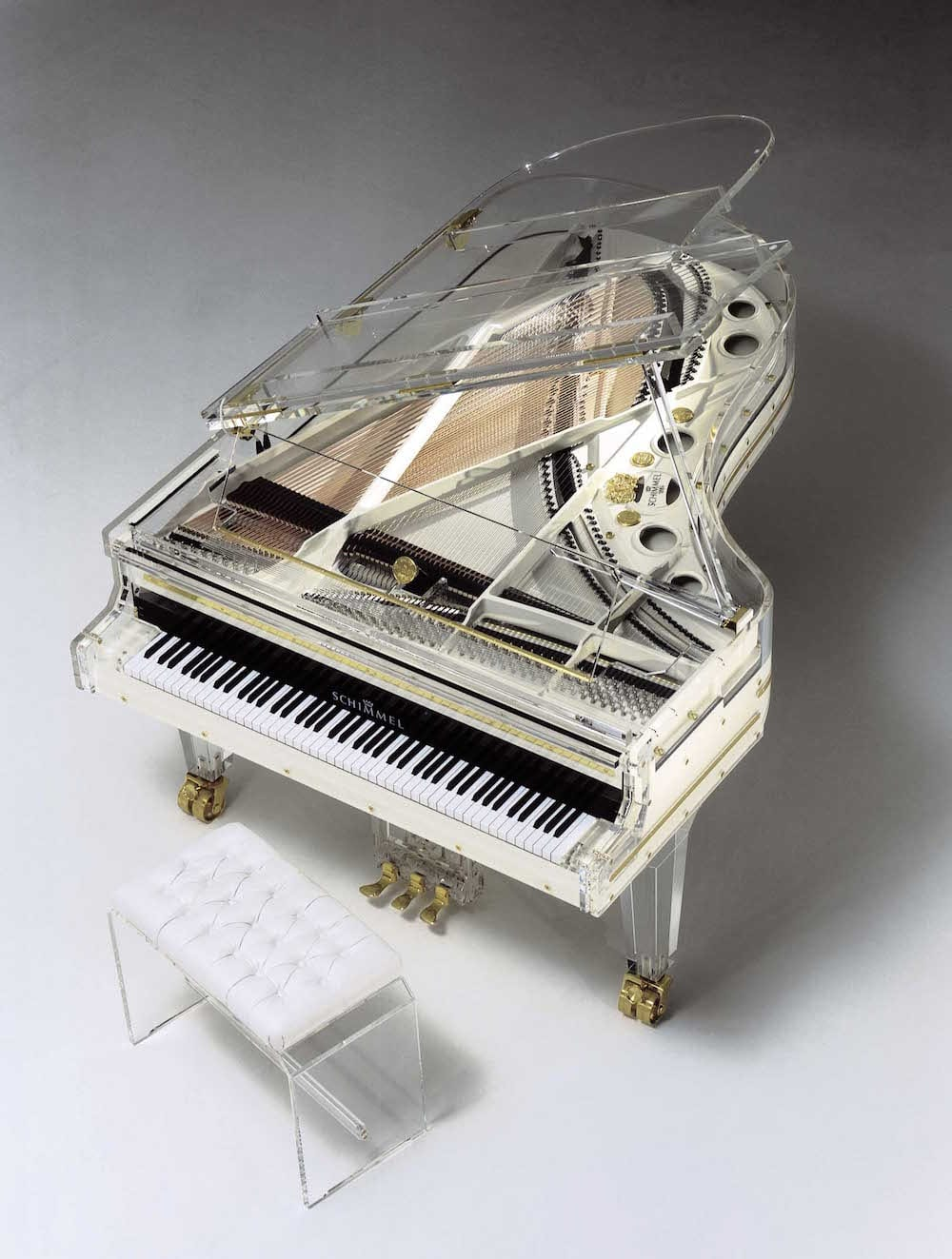 Schimmel K213 Glas Acrylic White Grand Piano Top