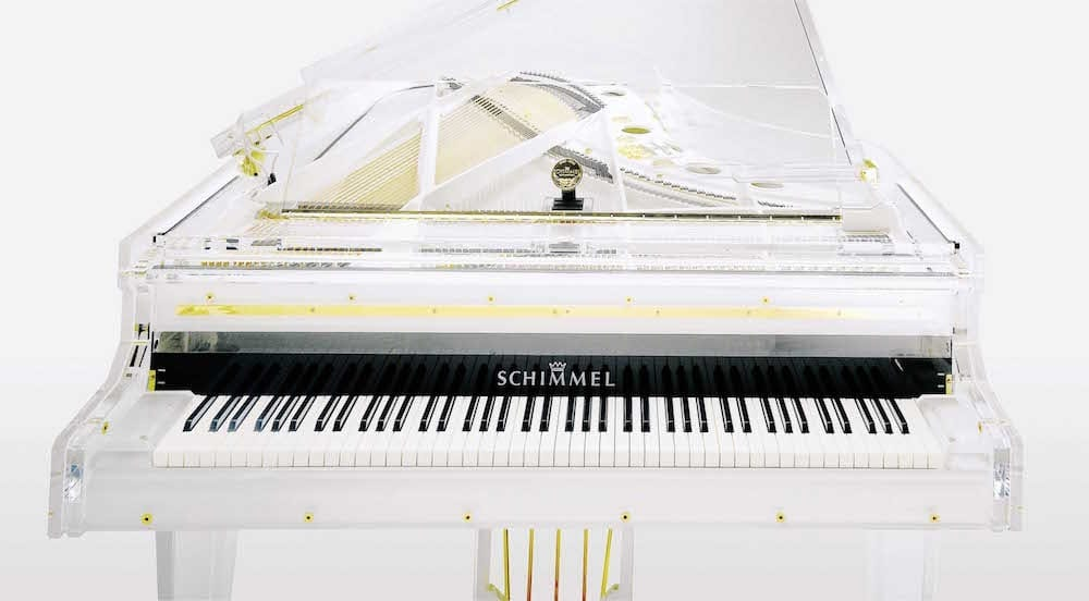 Schimmel Glas Grand Piano K213 Acrylic Piano with White Keyboard