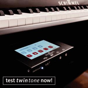 Piano keyboard with Twintone control module