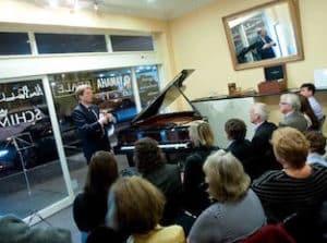 Hannes Schimmel Vogel speaking at Hutchings Pianos