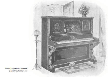 Illustration from the piano catalogue of Fridolin Schimmel 1896