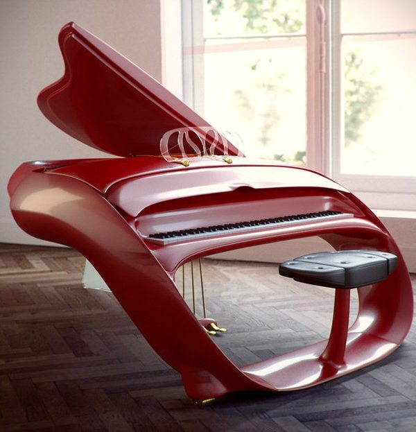 Schimmel Red Pegasus Grand Piano in Room